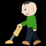 家事(掃除機かけ)をする中年男性のイラスト
