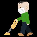 家事(掃除機かけ)をする中年男性のイラスト(マスク)1