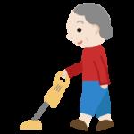 家事(掃除機)をする高齢者の女性のイラスト