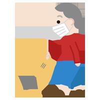 家事(掃除機)をする高齢者の女性のイラスト(マスク)