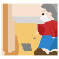 家事(掃除機)をする高齢者の女性のイラスト(マスク)2