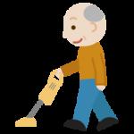 掃除機かけをする高齢者の男性のイラスト