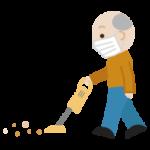 掃除機かけをする高齢者の男性のイラスト(マスク)2