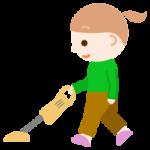 家事(掃除機がけ)をする女の子のイラスト