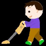 掃除機をかける男の子のイラスト