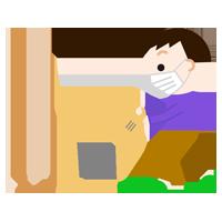 掃除機をかける男の子のイラスト(マスク)2