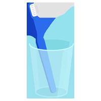 コップに入った青い歯ブラシのイラスト