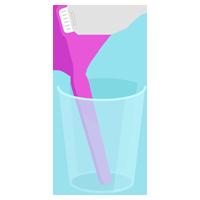 コップに入ったピンクの歯ブラシのイラスト