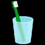 コップに入ったグリーンの歯ブラシのイラスト