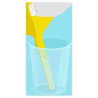 コップに入ったイエローの歯ブラシのイラスト