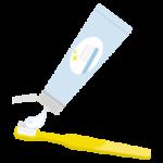 黄色い歯ブラシに歯磨き粉をつけるイラスト