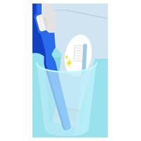 コップに入った歯磨き粉と歯ブラシのイラスト(青)
