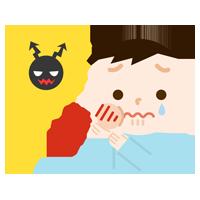 虫歯が痛む男の子のイラスト2