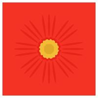 赤色のコスモスの花のイラスト