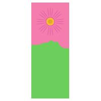 一本のピンク色のコスモスのイラスト