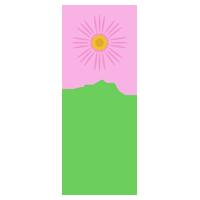 一本の薄ピンク色のコスモスのイラスト
