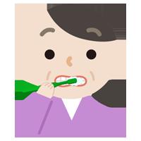 歯磨きをする中年女性のイラスト