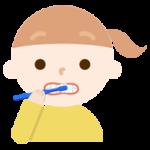 歯磨きをする女の子のイラスト