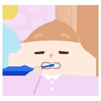 パジャマで歯磨きをする女の子のイラスト