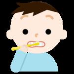 歯磨きをする男の子のイラスト