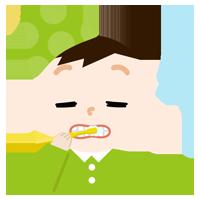 パジャマで歯磨きをする男の子のイラスト