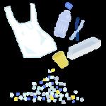 プラスチックごみとマイクロプラスチックのイラスト