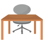 グレーの椅子と木の勉強机のイラスト