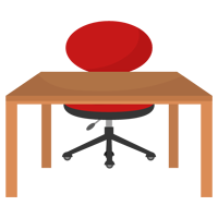 赤い椅子と木の勉強机のイラスト