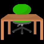 緑の椅子と木の勉強机のイラスト