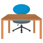 青い椅子と木の勉強机のイラスト