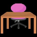 ピンクの椅子と木の勉強机のイラスト