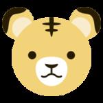 黄色い虎の顔のイラスト(干支)