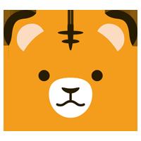 オレンジ色の虎の顔のイラスト(干支)