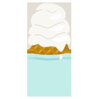 溶けたバニラのソフトクリームのイラスト(コーン)