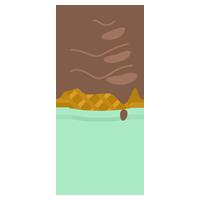 溶けたチョコのソフトクリームのイラスト(コーン)