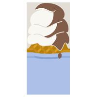 溶けたミックスソフトクリームのイラスト(コーン)