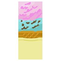 コーンに乗った2段アイスのイラスト