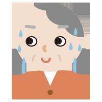 気まずそうな顔の高齢者女性のイラスト