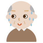 気まずそうな顔の高齢者男性のイラスト1
