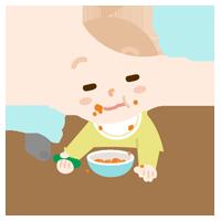 ご飯を食べながらウトウトする赤ちゃんのイラスト