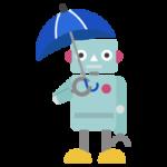 傘をさすロボットのイラスト
