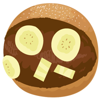 バナナが入ったマリトッツォのイラスト