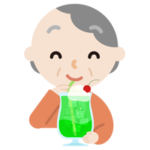 クリームソーダを飲む高齢者の女性のイラスト