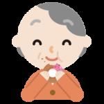 ドーナツを食べる高齢者の女性のイラスト