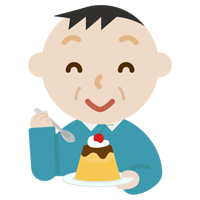 プリンを食べる中年の男性のイラスト
