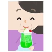 クリームソーダを飲む中年の女性のイラスト