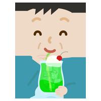 クリームソーダを飲む中年の男性のイラスト