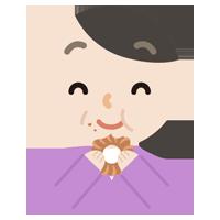 ドーナツを食べる中年の女性のイラスト
