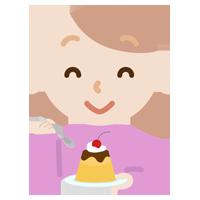 プリンを食べる若い女性のイラスト
