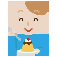 プリンを食べる若い男性のイラスト
